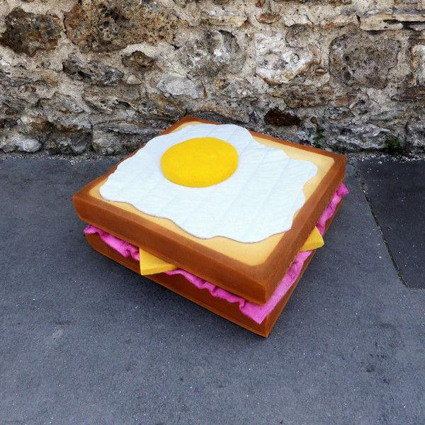 """LORK EAT ME CROQUE MADAME1 - Lor-K redéfinit la """"street food"""" avec ses sculptures éphémères 100% récup !"""