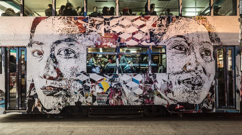 – Vhils – le « demolition man » s'attaque à Hong Kong