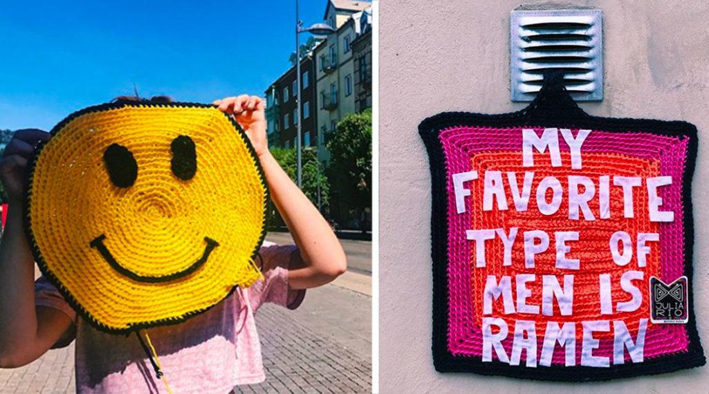 Yarn bombing : l'artiste Julia Riordan tricote les rues avec humour