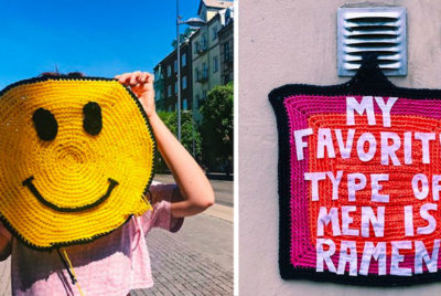 julio riordan crochet urbain art radar ramen smiley 400x268 - Yarn bombing : l'artiste Julia Riordan tricote les rues avec humour