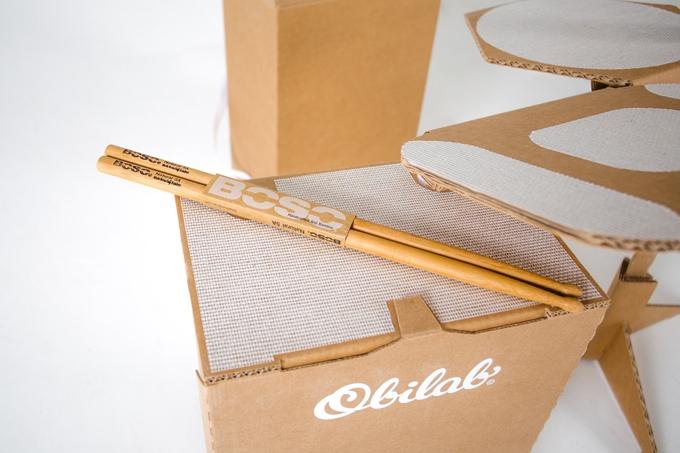 Obilab page Kickstarter 4 - Un drumkit en carton