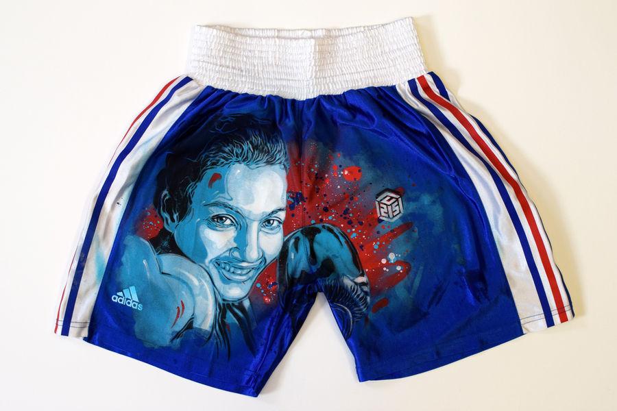 C215 pochoir portraits sportifs streetart nice museedusport boxe Short ourahmoune - Athlètes : C215, le champion du pochoir,
