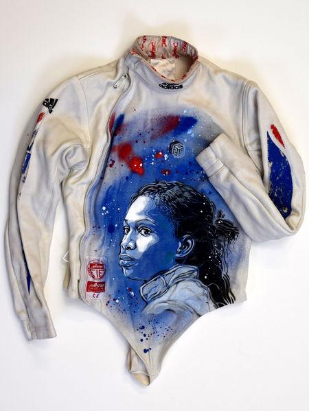 C215 pochoir portraits sportifs streetart nice museedusport escrime Veste flessel - Athlètes : C215, le champion du pochoir,