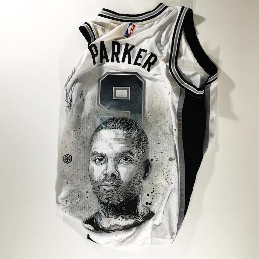 C215 pochoir portraits sportifs streetart nice museedusport niceTony Parker - Athlètes : C215, le champion du pochoir,