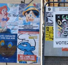 Quand le street art squatte les affiches de la campagne présidentielle…