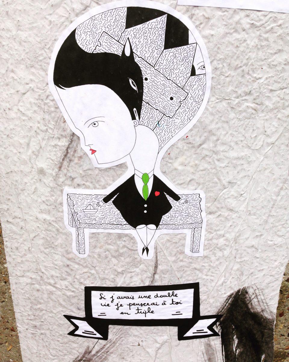 fredlechevaliercollagestreetartartisteurbainpersonnagesnoirblancvie - Fred Le Chevalier : quand poésie urbaine et collages s'entremêlent