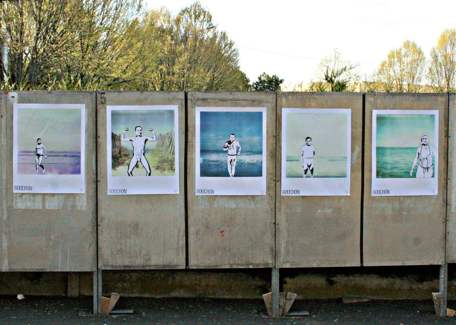 lesgraffsdujusticiercontrelesmursstreetartcollagedetournementcampagneaffichepresidentiellepanneauxelection - Quand le street art squatte les affiches de la campagne présidentielle...