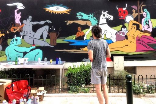 onie jackson artiste mur orleans fresque street art2 - Le street artiste Onie réunit 16 chefs-d'œuvre dans une seule et même murale
