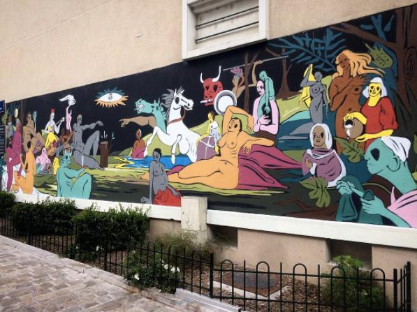 onie jackson artiste mur orleans fresque street art4 - Le street artiste Onie réunit 16 chefs-d'œuvre dans une seule et même murale