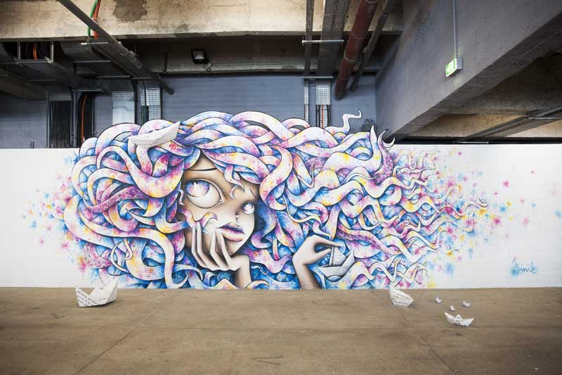 vinie wall on fire exposition expo paris docks cite de la mode et du design street art - « Wall on Fire » : le street art s'invite sur les quais de Seine