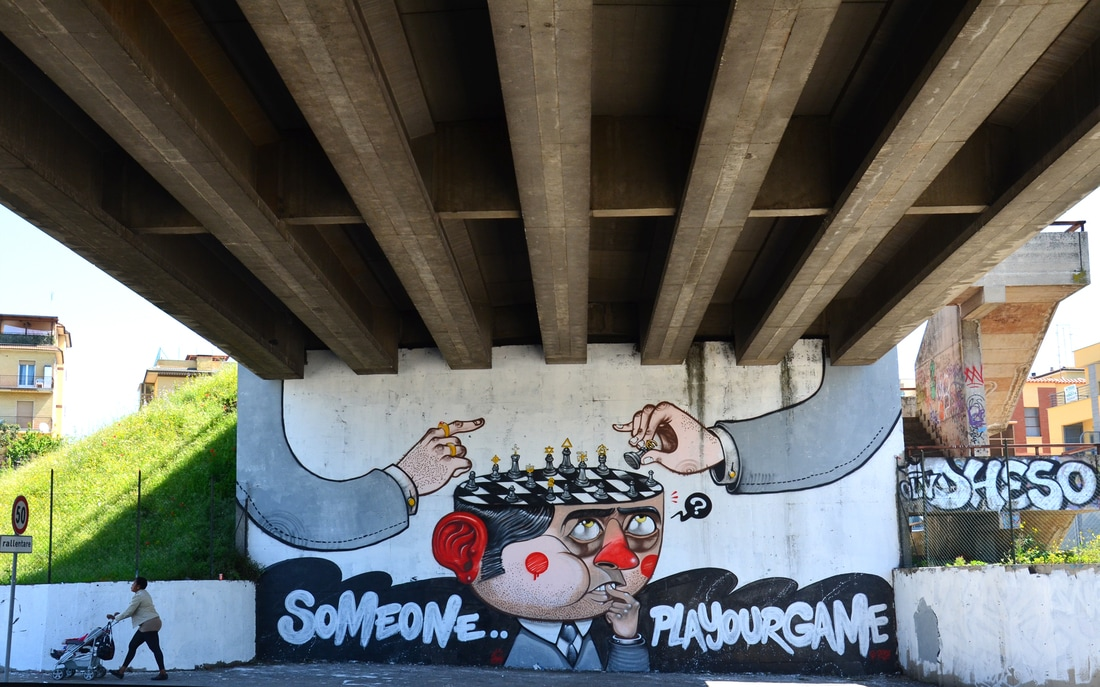 diego della posta mister thoms street art italy game - Mister Thoms : skatepark arty et fresque 3D
