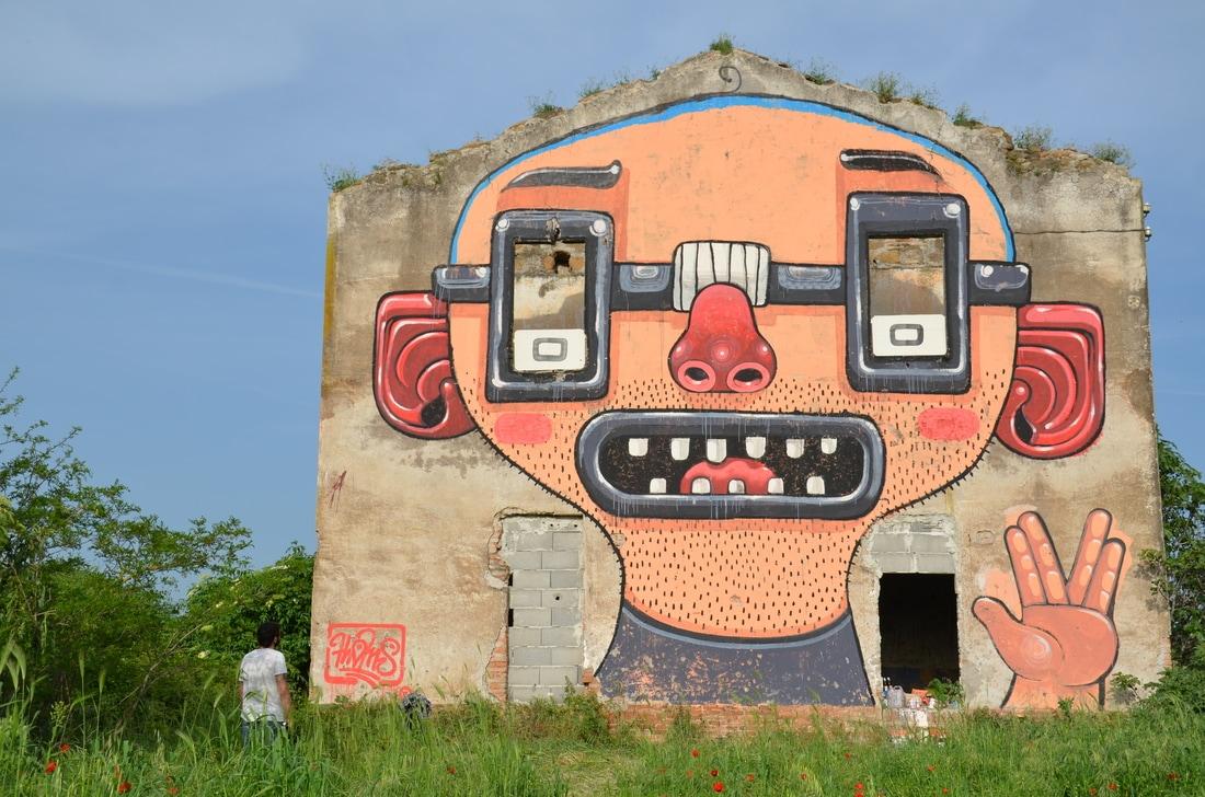 diego della posta mister thoms street art italy nerd - Mister Thoms : skatepark arty et fresque 3D