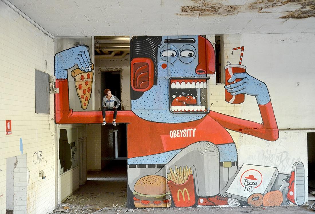 diego della posta mister thoms street art italy obesite - Mister Thoms : skatepark arty et fresque 3D