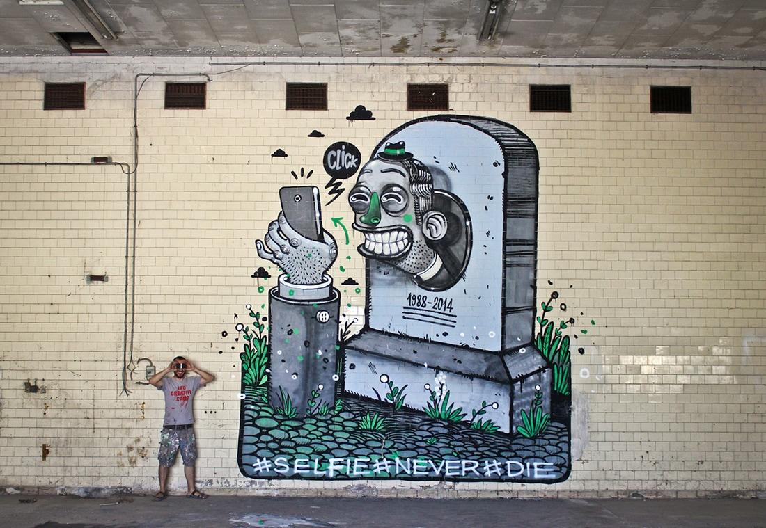 diego della posta mister thoms street art italy selfie - Mister Thoms : skatepark arty et fresque 3D