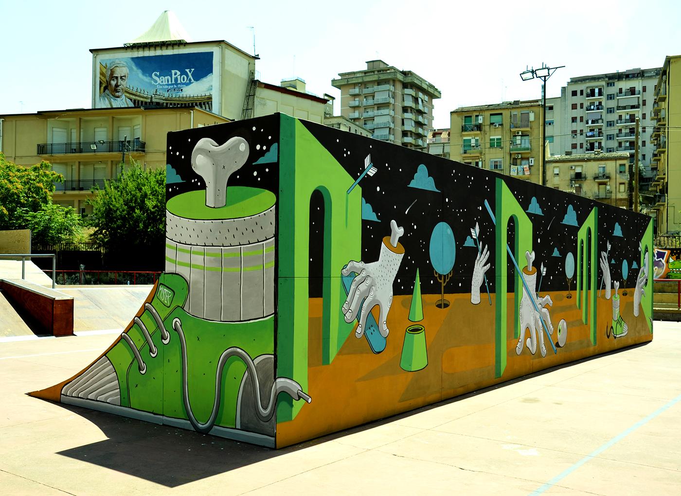 diego della posta mister thoms street art skatepark2 - Mister Thoms : skatepark arty et fresque 3D