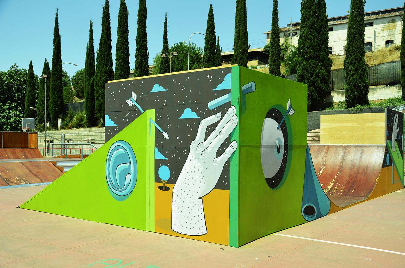 diego della posta mister thoms street art skatepark3 - Mister Thoms : skatepark arty et fresque 3D