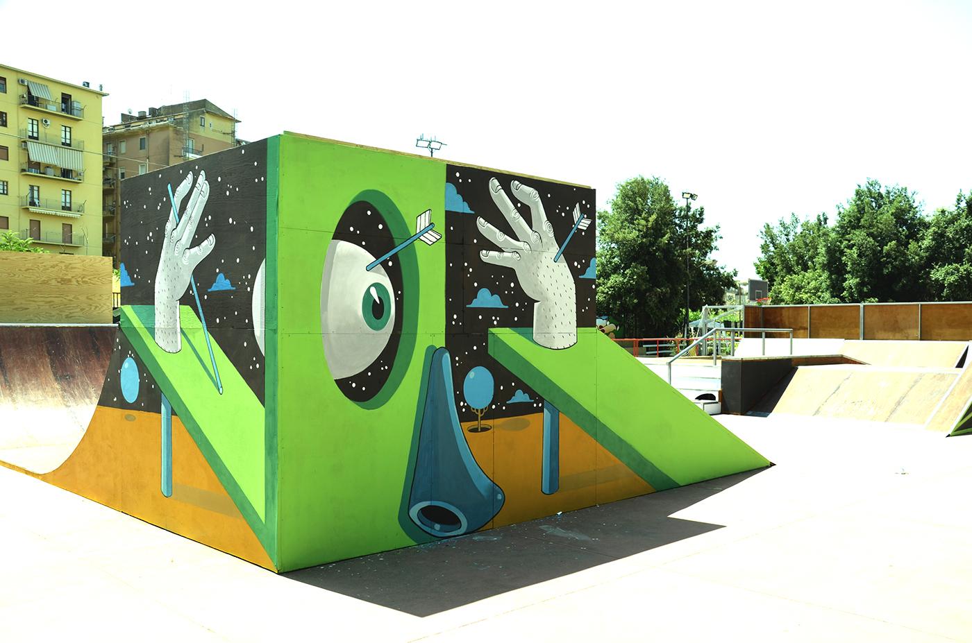 diego della posta mister thoms street art skatepark5 - Mister Thoms : skatepark arty et fresque 3D
