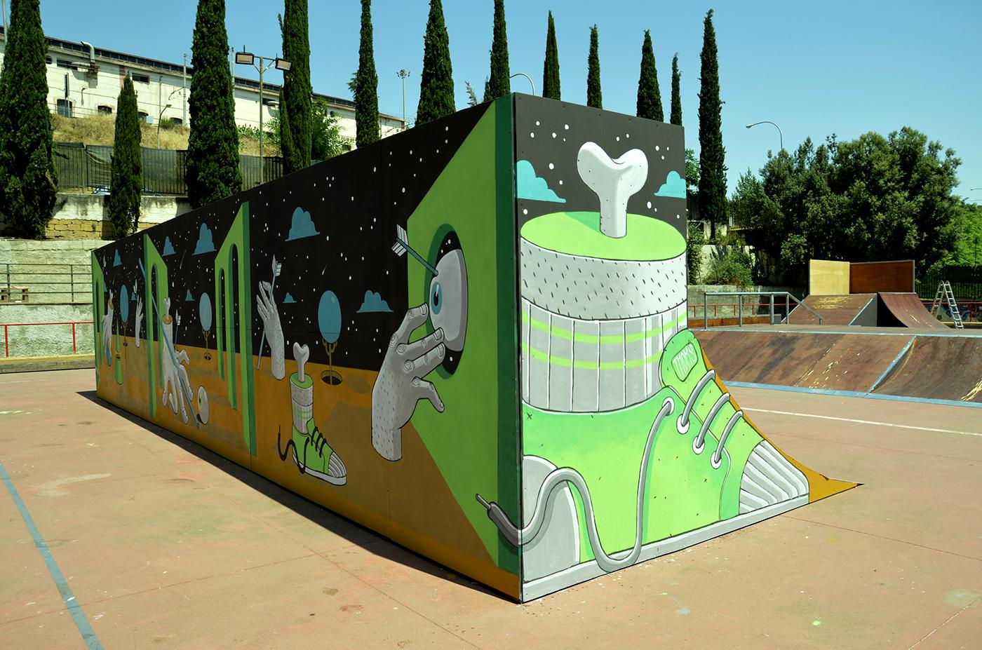 diego della posta mister thoms street art skatepark6 - Mister Thoms : skatepark arty et fresque 3D