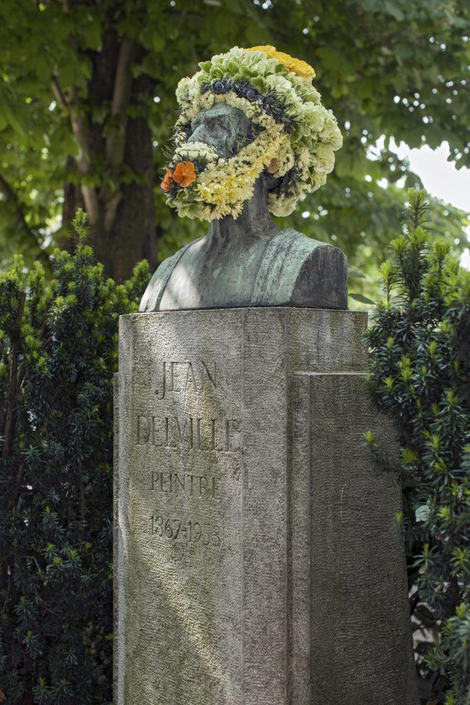 geoffroy mottart jean delville2 fleur hacking couronne statue arturbain - Geoffroy Mottart couronne de fleurs les statues bruxelloises