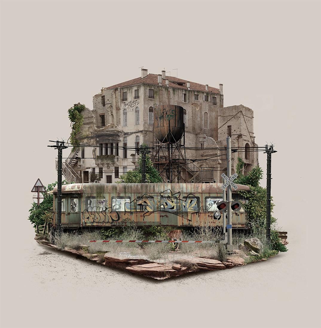 FabioAraujo island abandonnedplaces explorationurbaine graphicdesign radar graffiti 1 - À la découverte des mondes abandonnés et 100% numériques de Fabio Araujo