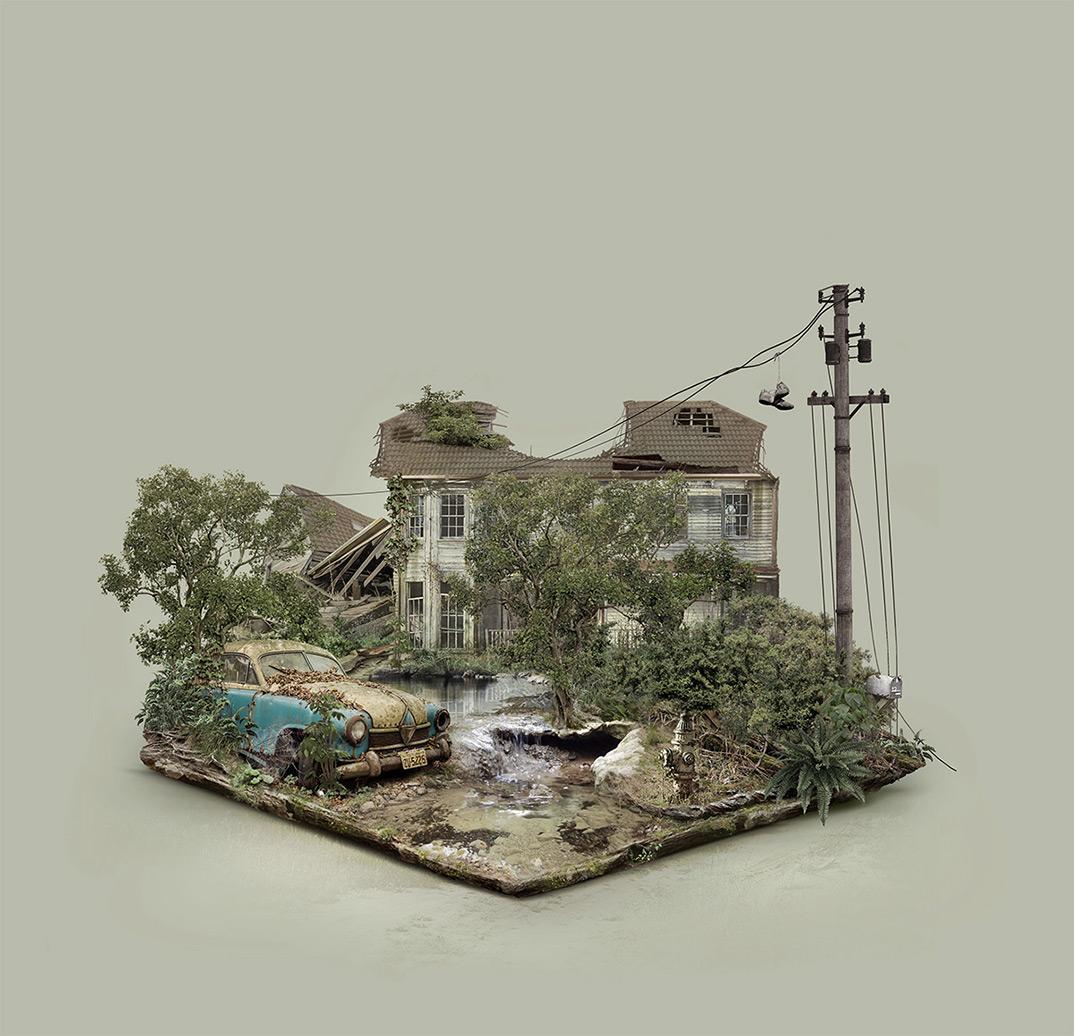 FabioAraujo island abandonnedplaces explorationurbaine graphicdesign radar graffiti maison - À la découverte des mondes abandonnés et 100% numériques de Fabio Araujo