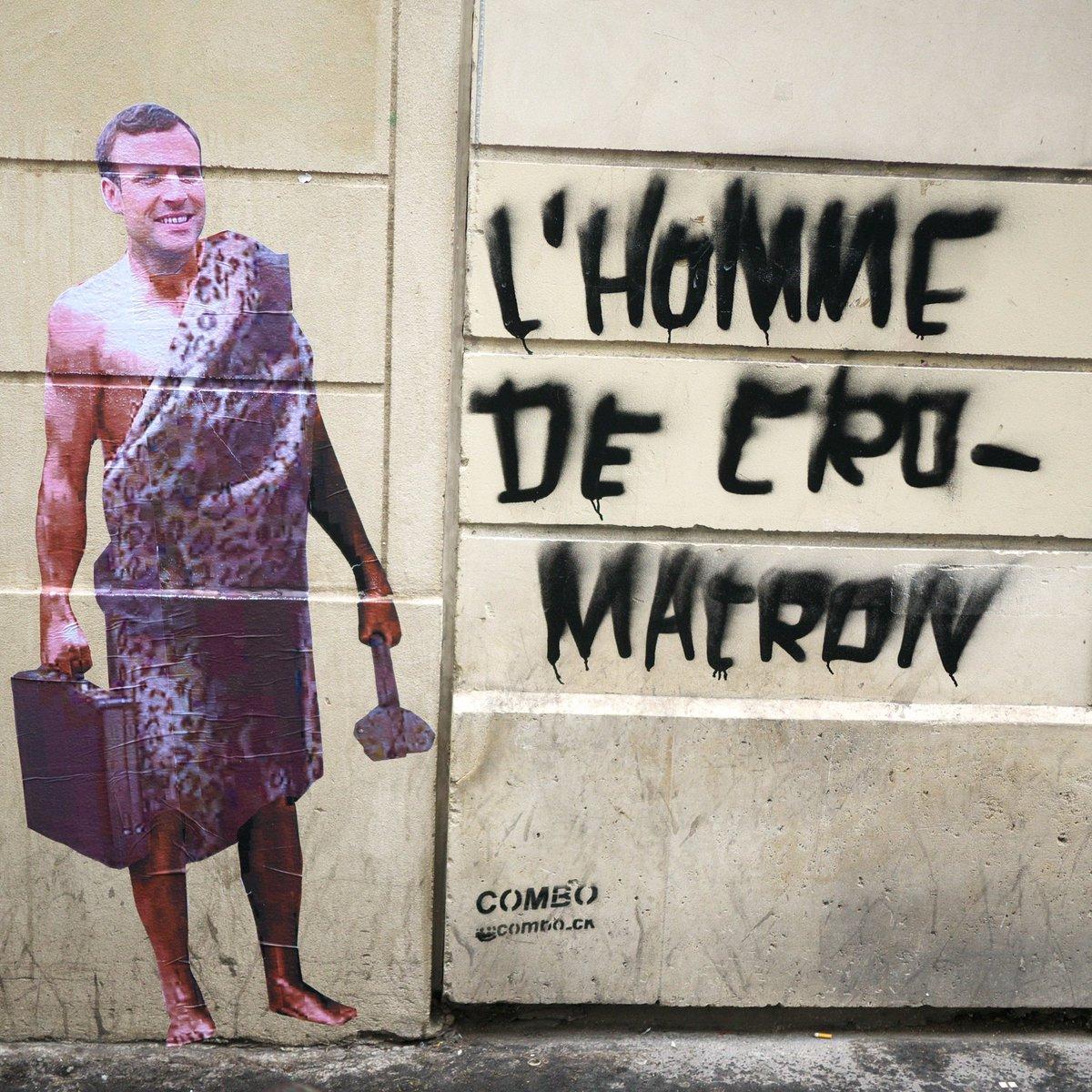 macron, trump, le street artiste combo affiche les politiques