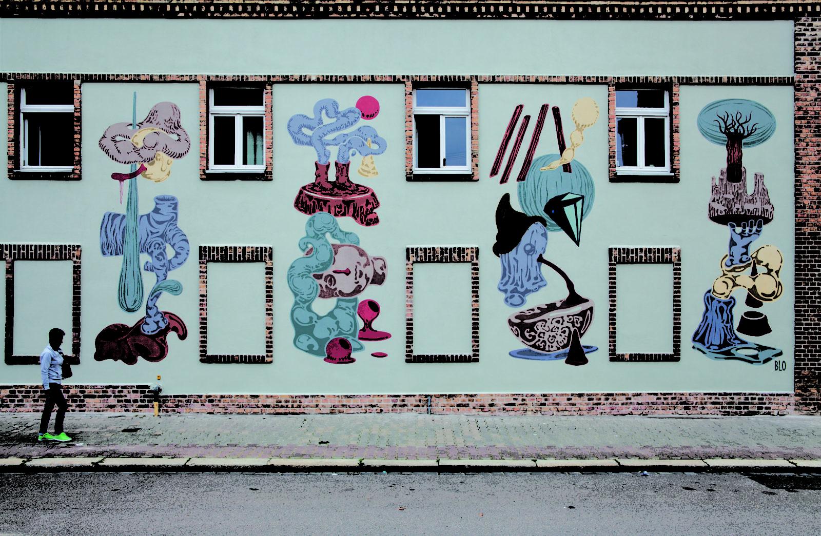 Halle ville allemande streetart blo mur - Désertée, la ville allemande de Halle reprend vie grâce au street art