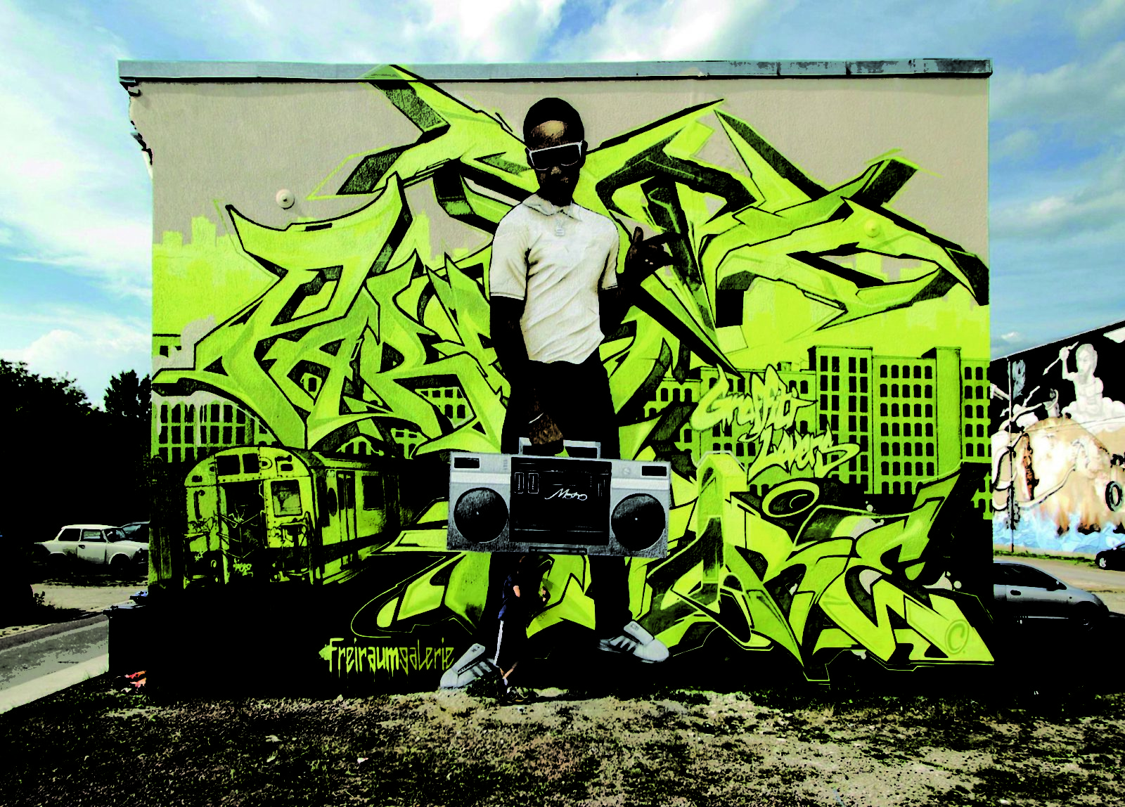Halle ville allemande streetart fartbtoen danilo graffiti ghettoblaster nineties - Désertée, la ville allemande de Halle reprend vie grâce au street art