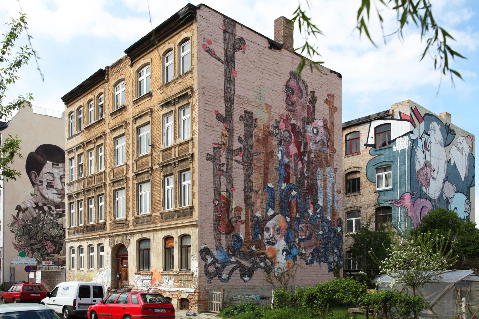 Halle ville allemande streetart murs 1 - Désertée, la ville allemande de Halle reprend vie grâce au street art
