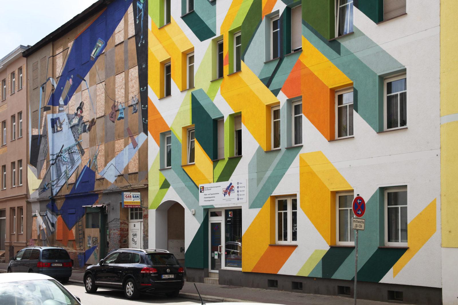 Halle ville allemande streetart murs couleurs 1 - Désertée, la ville allemande de Halle reprend vie grâce au street art