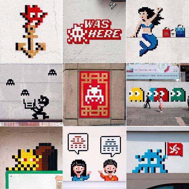 invader pixelart ovni alien mosaique streetart hongkong - Invader : l'invasion pixel art continue !