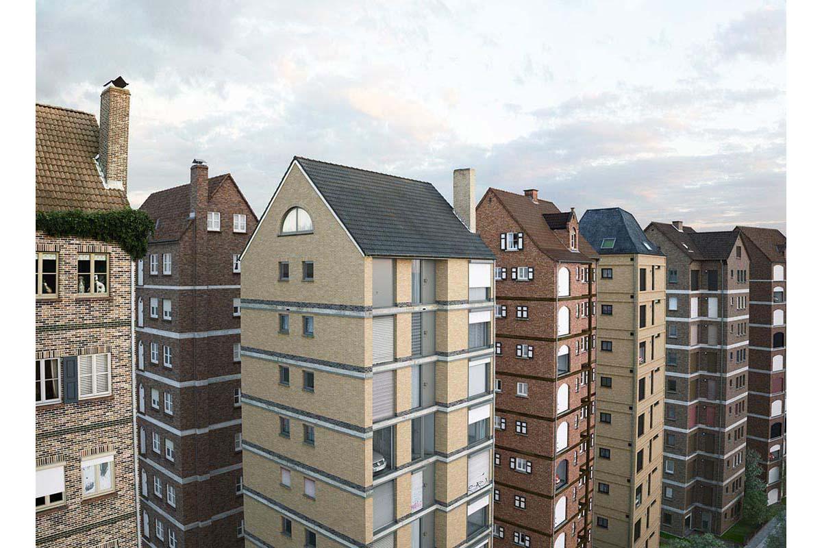 victorenrich architecture illustration 3d illusion photographie 08 - Victor Einrich, le photographe qui fait léviter les immeubles et renverse la ville