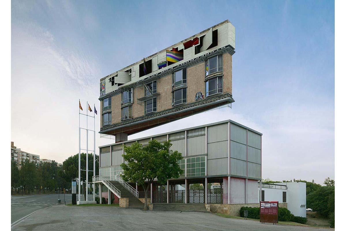 victorenrich architecture illustration 3d illusion photographie 16 - Victor Einrich, le photographe qui fait léviter les immeubles et renverse la ville
