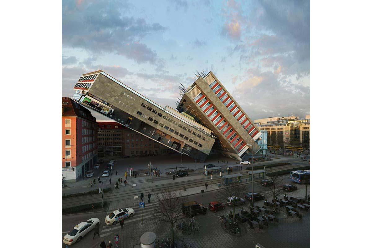 victorenrich architecture illustration 3d illusion photographie 26 - Victor Einrich, le photographe qui fait léviter les immeubles et renverse la ville