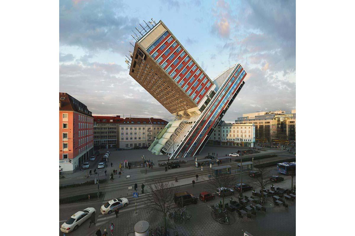 victorenrich architecture illustration 3d illusion photographie 28 - Victor Einrich, le photographe qui fait léviter les immeubles et renverse la ville