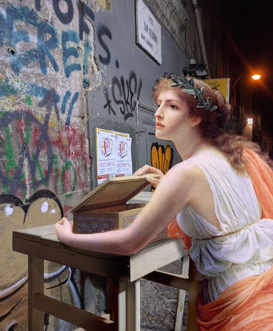 AlexeyKondakov collage detournement instagram tableaux peintures artclassique creatif caisse graff - Les héros classiques squattent l'espace urbain grâce aux collages d'Alexey Kondakov
