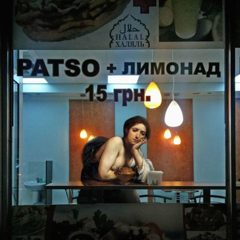 AlexeyKondakov collage detournement instagram tableaux peintures artclassique creatif ennui resto - Les héros classiques squattent l'espace urbain grâce aux collages d'Alexey Kondakov