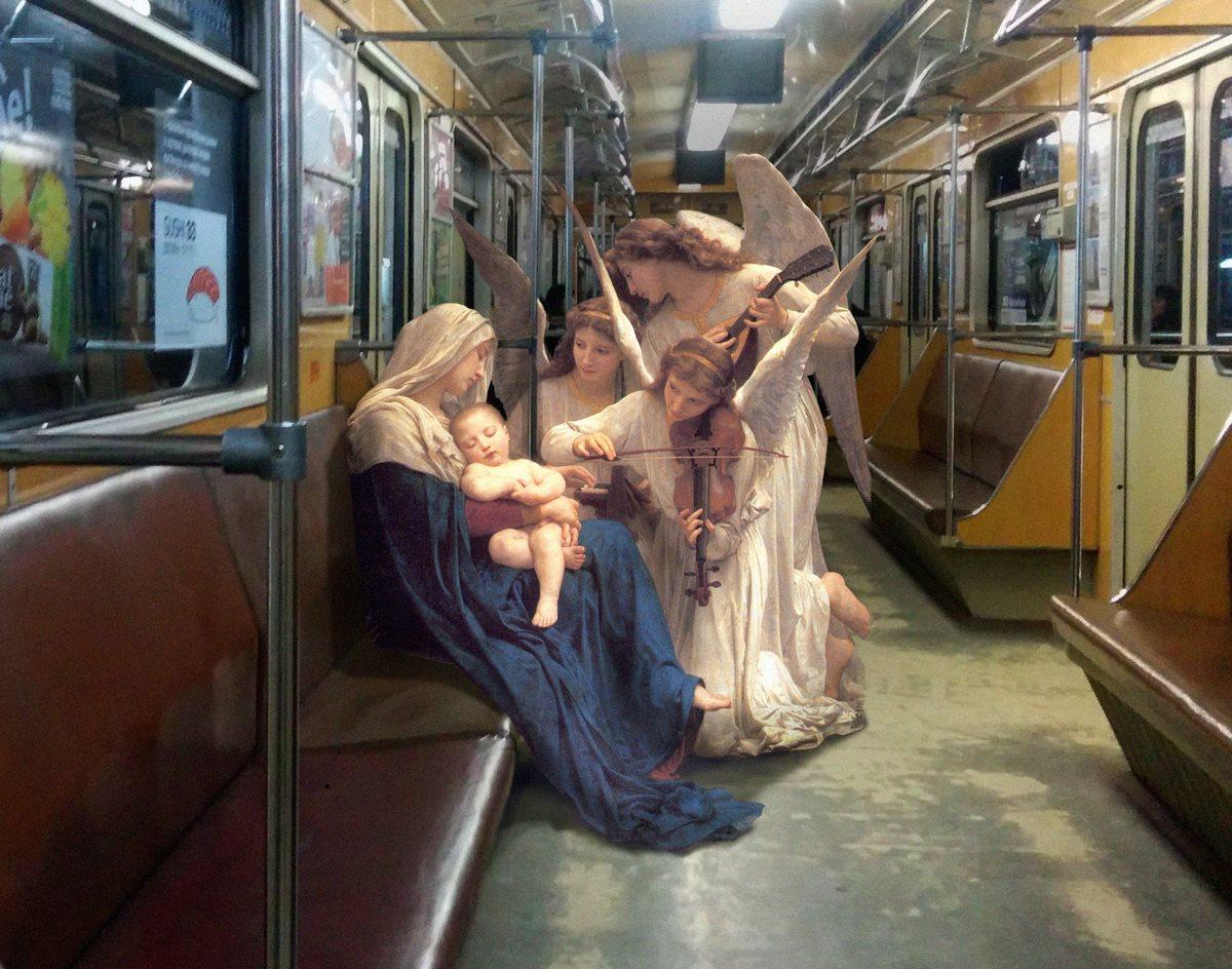 AlexeyKondakov collage detournement instagram tableaux peintures artclassique creatif lechantdesanges williamadolphebouguereau metro - Les héros classiques squattent l'espace urbain grâce aux collages d'Alexey Kondakov