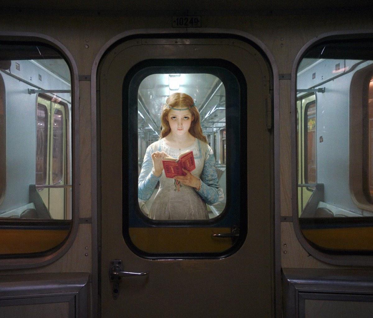 AlexeyKondakov collage detournement instagram tableaux peintures artclassique creatif metro bible ange - Les héros classiques squattent l'espace urbain grâce aux collages d'Alexey Kondakov