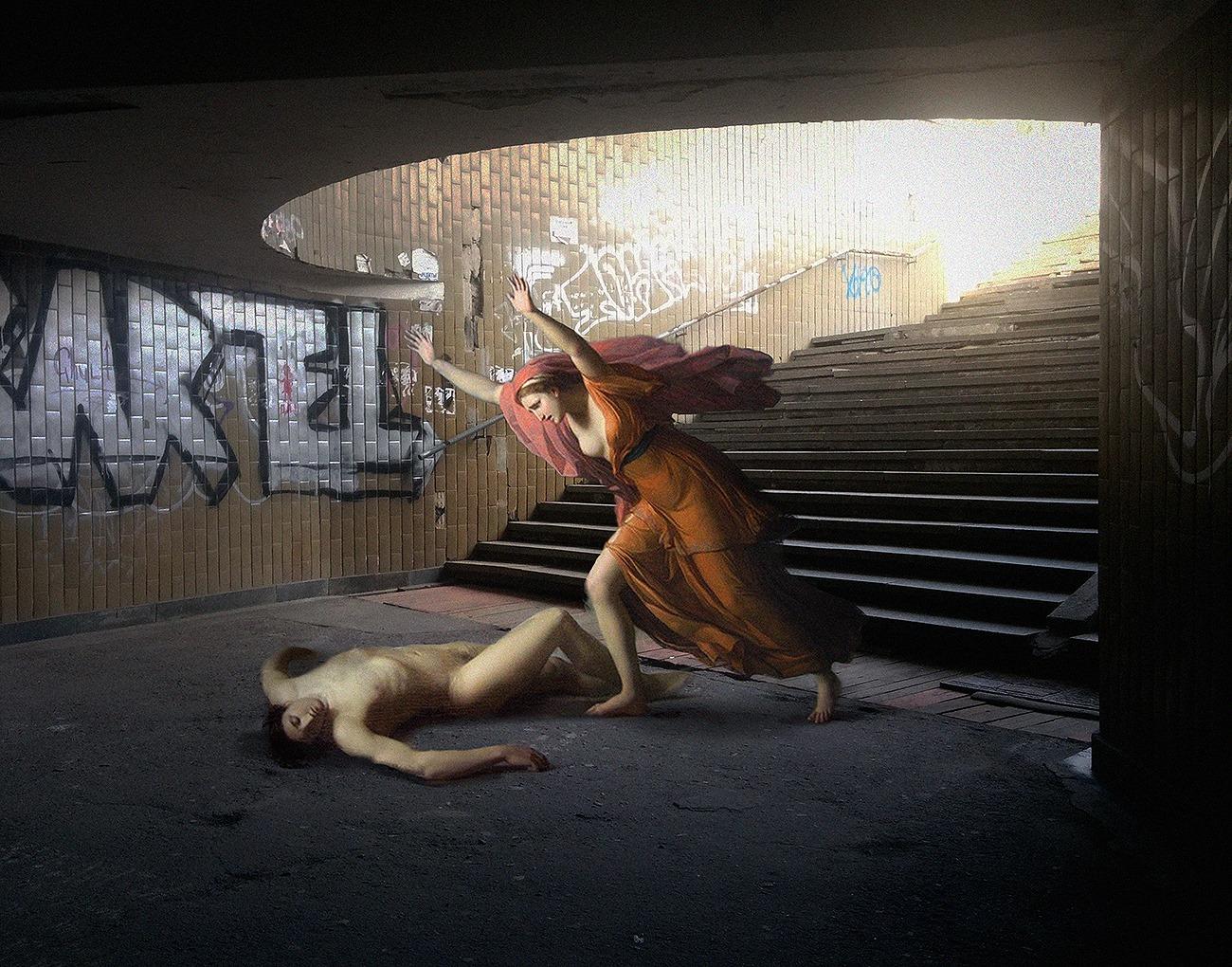 collage detournement instagram ville urbain graffiti tableaux peintures artclassique creatif Alexey Kondakov AgressionMetro - Les héros classiques squattent l'espace urbain grâce aux collages d'Alexey Kondakov