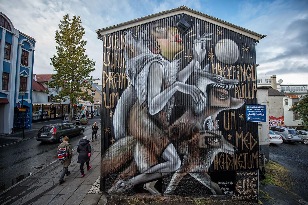 elle ulfur ulfur street art islande reyjavik wall poetry loup - Focus sur Reykjavik : la capitale de l'Islande s'ouvre au street art !