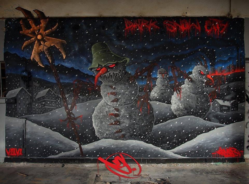 """goner dark sno wity noel bonhommes neige sombre - La """"magie de Noël"""" revue et corrigée par des street artistes"""
