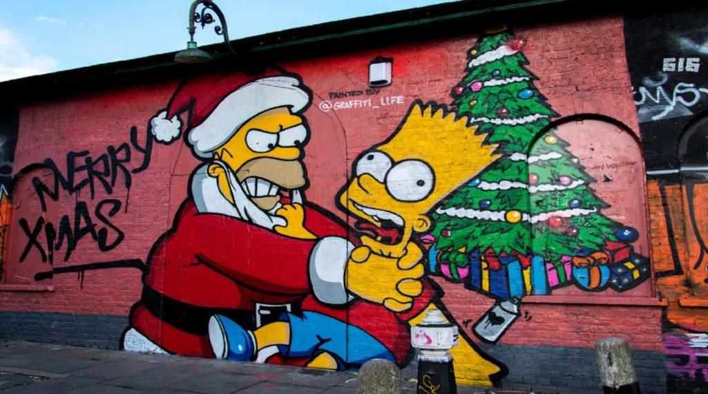 les plus beaux Street Art  - Page 2 Graffiti-life-simpsons-noel-homer-barth-1025x570