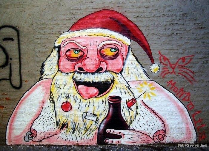 """mondo lila pere noel alcool - La """"magie de Noël"""" revue et corrigée par des street artistes"""