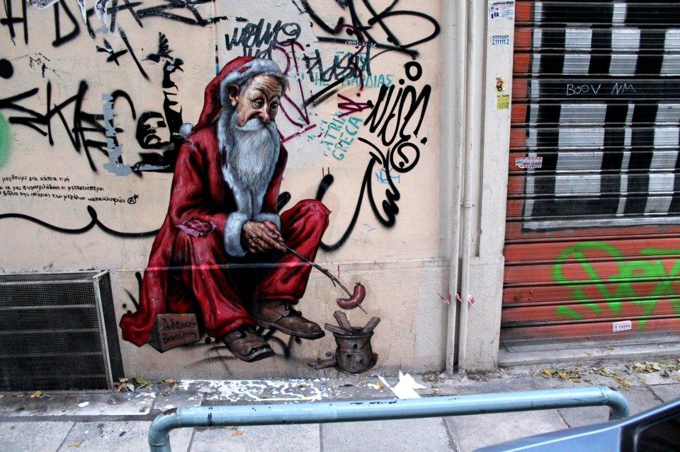 """wd grece crise noel anorexie - La """"magie de Noël"""" revue et corrigée par des street artistes"""