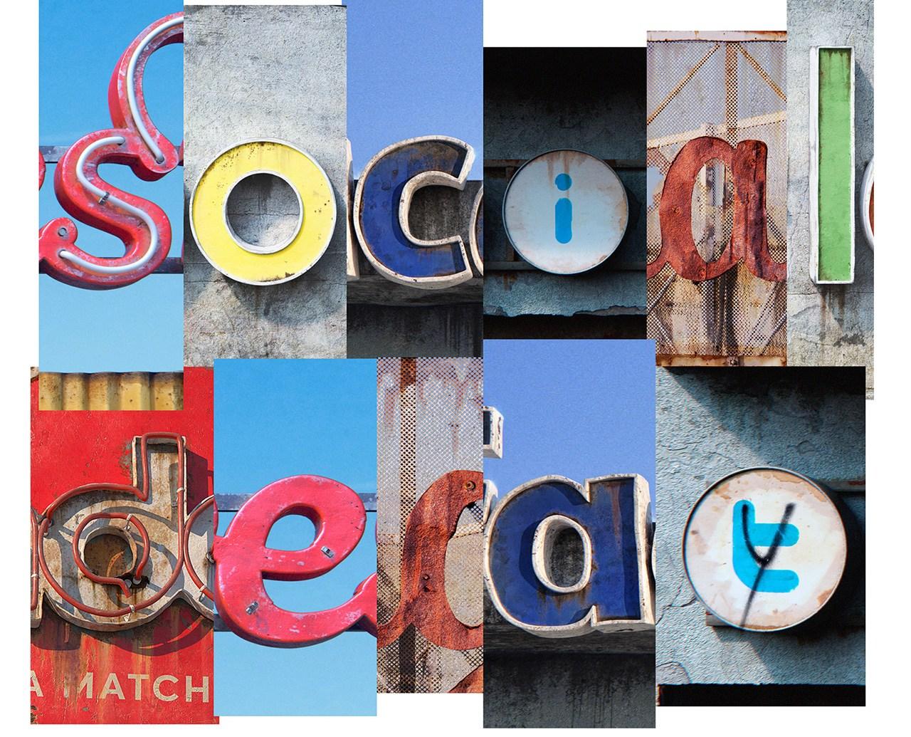 AndreiLacatusu social decay lettres logo enseigne typographie urbain urbex - Social decay : les logos de Twitter, Facebook et Tinder transformés en enseignes vintage