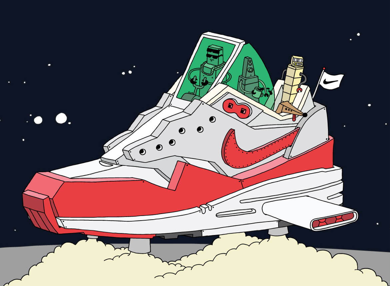 Ghica popa space project sneaker illustration nike - L'illustrateur Ghica Popa transforme des sneakers en vaisseaux spatiaux