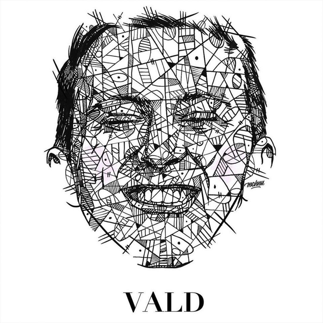 """Vald cover fans rap creation musique xeu visage graphisme - Les meilleures pochettes réalisées pour """"XEU"""", le nouvel album de Vald"""
