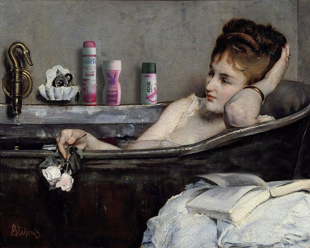bain deodorant narta femme thorislausset detournement tableau peintureclassique - Painting update : les peintures classiques revisitées avec beaucoup d'humour et de modernité