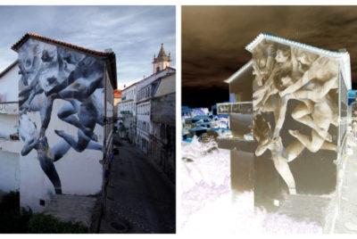 bosoletti murale basilique streetart peinture danse negatif arturbain 400x268 - Les peintures murales de Bosoletti se révèlent en négatif
